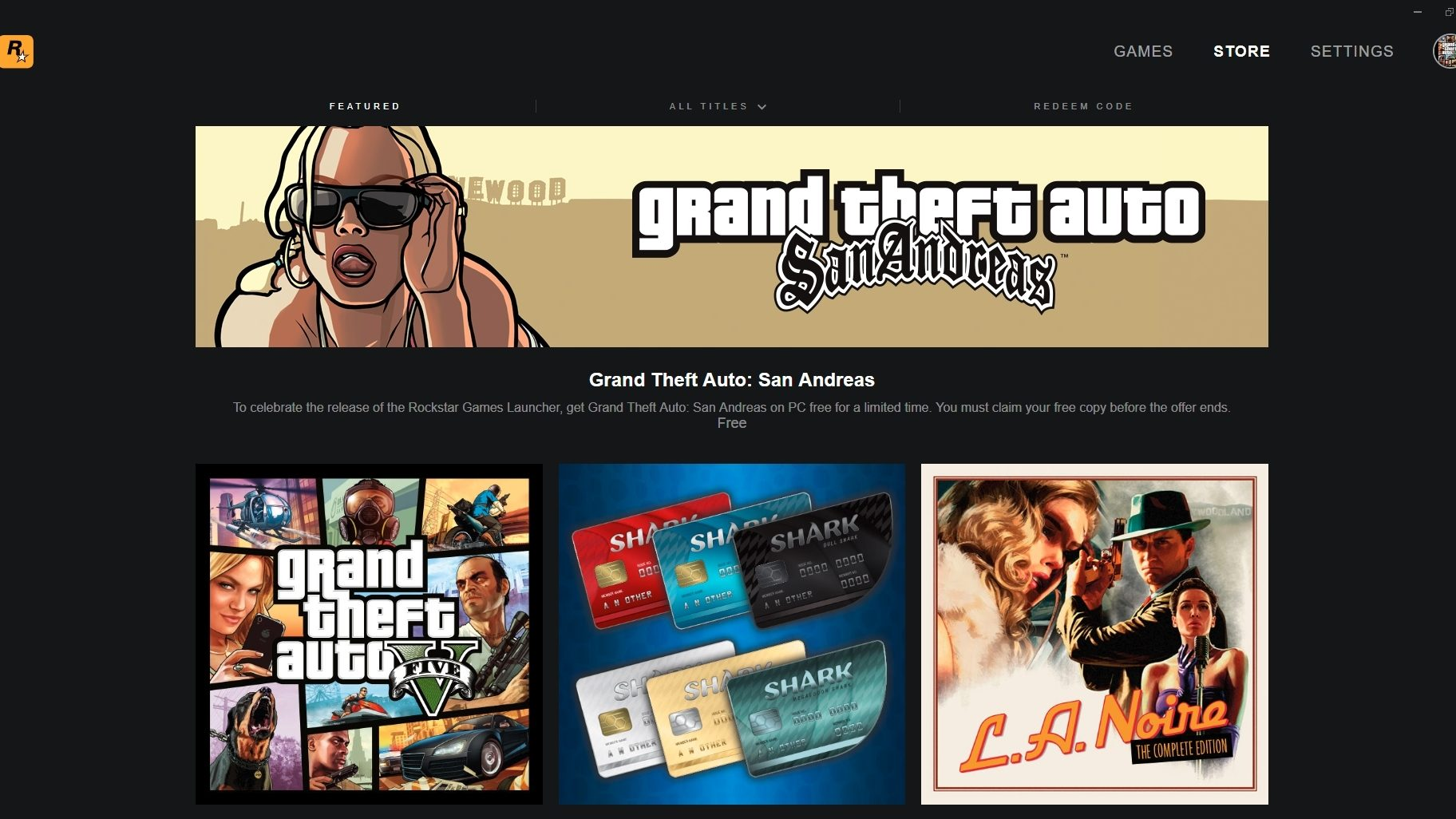 Rockstar makes PC games launcher, gives away San Andreas for free